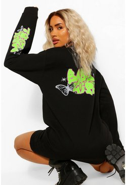 Black Graffiti Print 'Babygirl' Acid Wash Sweat Dress