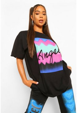 Black Colourful 'Angel' Slogan Graphic T-Shirt