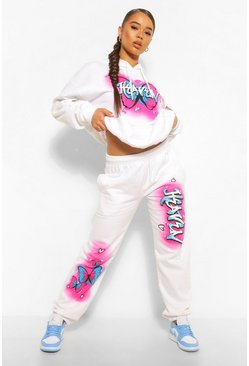 White Graffiti Print 'Heaven' Slogan Oversized Joggerss