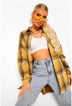 Oversized Checked Shirt, Mustard giallo
