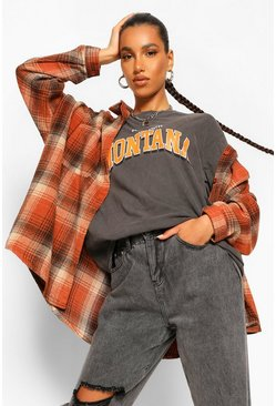 Rust orange Oversized Checked Shirt