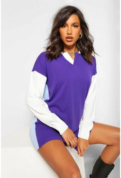 Purple Colour Block Rugby Jumper Dress