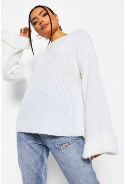 Soft Knit Wide Sleeve Jumper, Cream blanc
