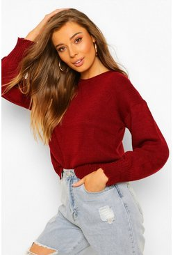 Berry red Tie Back Jumper