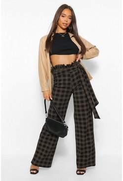 Black Paperbag High Waist Checked Wide Leg Trouser