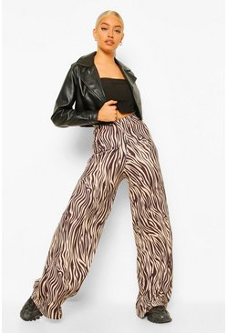 Brown Monochrome Tijgerprint Jersey Wide Leg Broek
