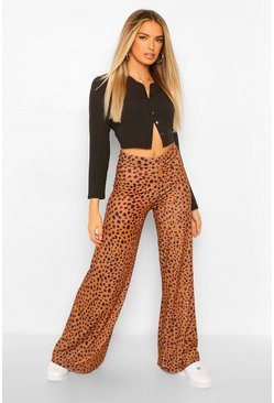 Chocolate brown Jersey Wide Leg Broek Met Stippen