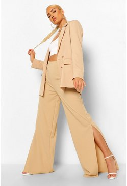 Stone beige Split Leg Wide Leg Trousers
