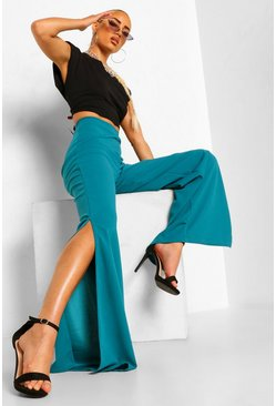Teal green Split Leg Wide Leg Trousers