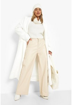 Leather Look PU Wide Leg Trousers, Stone beige