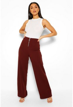 Chocolate brown Ring Zip Detail Wide Leg Trousers