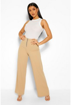 Ring Zip Detail Wide Leg Trousers, Stone beis