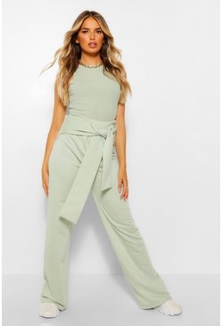 Sage green Wide Leg Joggingbroek Met Ceintuur