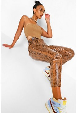 Chocolate brown Snake Print Leather Look PU Skinny Trouser