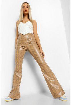 Stone Tonal Snake Leather Look PU Wide Leg Trouser