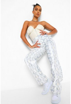 Stone Snake Leather Look PU Wide Leg Trousers
