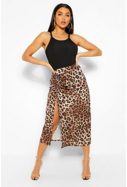 Brown Leopard Ruched Side Split Midi Skirt