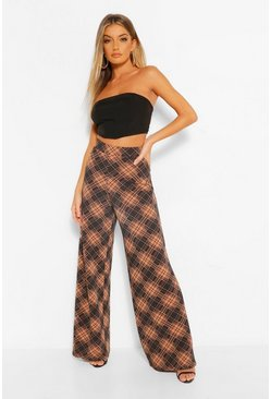 Chocolate Check Wide Leg Trousers