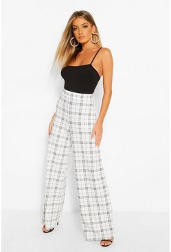 Ivory Grid Check Wide Leg Trousers