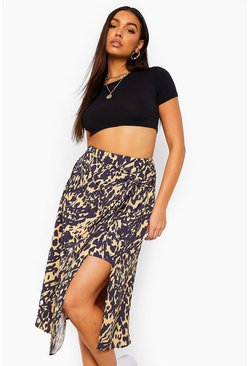 Camel beige Mixed Animal Print Split Midi Skirt