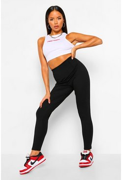 Black Pintuck Front Treggings