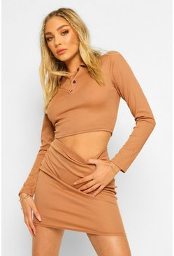 Camel beige Long Sleeve Rib Polo Top And Mini Skirt Two-Piece