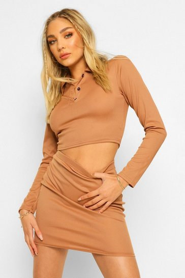 Camel beige Long Sleeve Rib Polo Top and Mini Skirt Co-ord