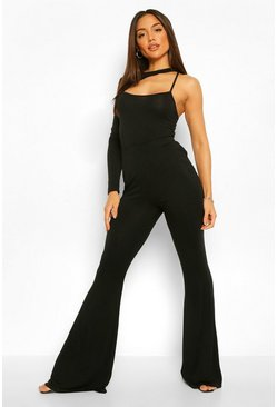 Black Asymmetric Cut Out Body and Flare Trouser Co-ord