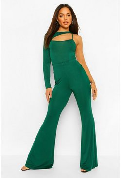 Emerald green Asymmetric Cut Out Body and Flare Trouser Co-ord
