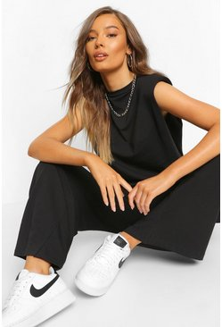 Black Shoulder Pad Top and Culotte Co-ord