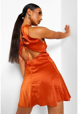 Rust orange Satin Sleeveless Open Back Skater Dress