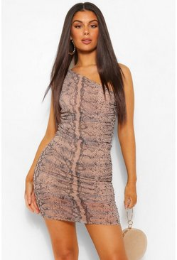 Stone beige Snake Mesh One Shoulder Ruched Midi Dress
