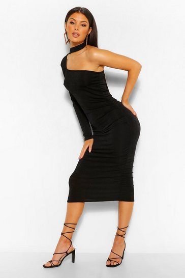 Black Textured Slinky Cut Out Detail Midi Dress