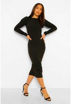Black Extreme Rouched Sleeve Midaxi Dress