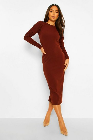 Chocolate brown Extreme Rouched Sleeve Midaxi Dress