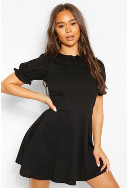 Black Frill Collar Detail Button Skater Dress