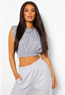 Grey marl Shoulder Pad Elasticated Waist Tee