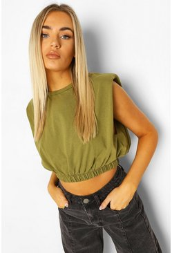Khaki Shoulder Pad Elasticated Waist Tee