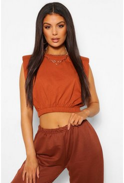 Tan brown Shoulder Pad Elasticated Waist Tee