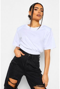 White Shoulder Pad Fitted Waist T-Shirt