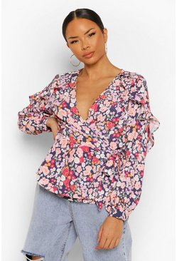Black Mixed Floral Ruffle Wrap Blouse