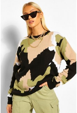 Knitted Camo Jumper, Black Чёрный