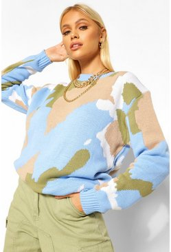 Blue Knitted Camo Jumper