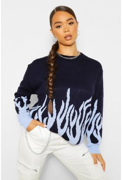 Blue Flame Hem Jumper