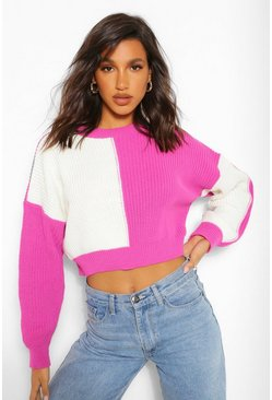 Pink Colourblock Cropped Jumper