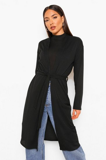 Black Longline Fitted Belted Cardigan