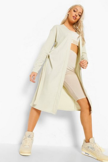 Stone beige Longline Fitted Belted Cardigan
