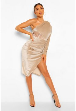 Stone beige Velvet One Shoulder Mesh Insert Midi Dress