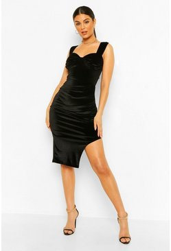Black Velvet Ruched Cup Detail Midi Dress