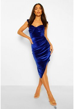Cobalt blue Velvet Ruched Cup Detail Midi Dress